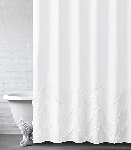 "Felisa White Shower Curtain with Zig-zag Stripes of Ruffled Trim,Farmhouse Chic Fabric Shower Curtain for Bathroom,Machine Washable,72""x72"""