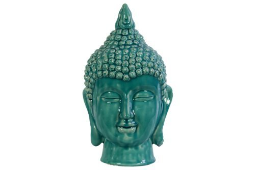 Ceramic Buddha head with Pointed Ushnisha Gloss Finish TURQUOISE>
