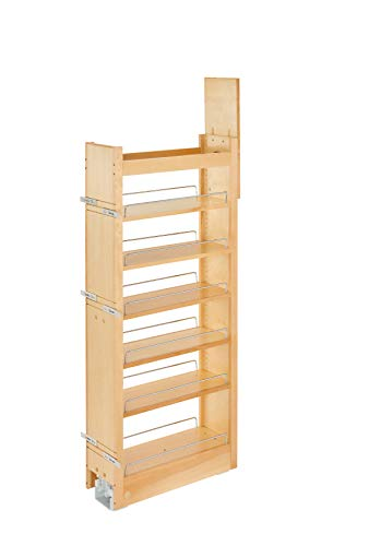 Rev-A-Shelf 8 in W x 43 in H Wood Pantry Pullout Soft Close, Natural