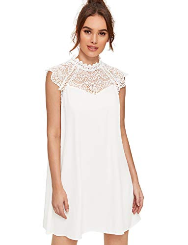 - Romwe Women's Cute Cap Sleeve Lace Embroidered Floral Dress M White