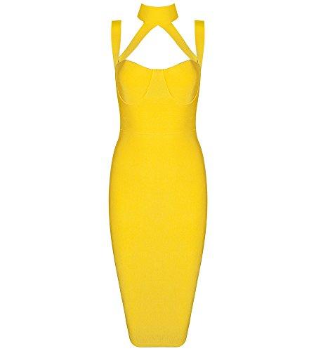 Hego Women's Black Backless Halter Sleeveless Bodycon Bandage Strapless Dress H1408 (S, Yellow)