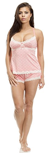Dot Short Set ((6495JS) Jessica Simpson Womens 2 Piece Dot Print Cami and Short Set with Lace Trim Size: Medium in CORAL)
