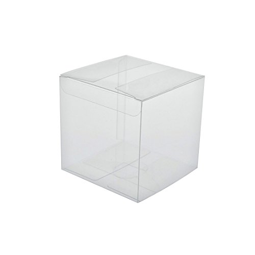 FOONEA 50 pcs Clear Gift Transparent Boxes for Thanksgiving Christmas Wedding Party Baby Shower Candy Favor Boxes, 2 x 2 x 2 inches -