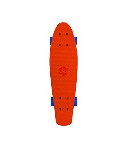 Mindtwister USA Zippy Flyer, Solid Red Plastic Skateboard W/Solid Blue Swirl Wheels