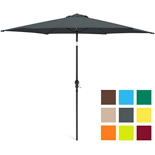 Best Choice Products 10ft Outdoor Steel Market Patio Umbrella w/Crank, Tilt Push Button, 6 Ribs - Gray ()