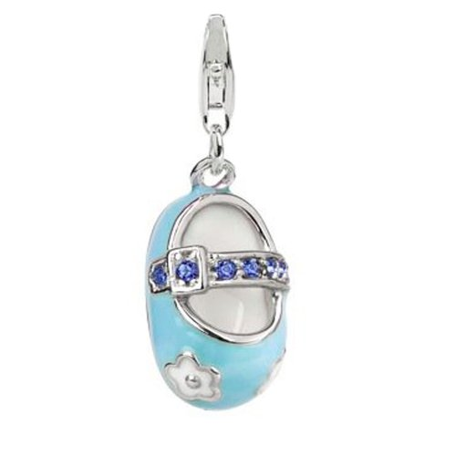 Jovana Sterling Silver Links Charm Boy Baby Shoe Blue Enamel Blue Swarovski Crystal, Lobster Clasp Baby Boy Shoe Charm