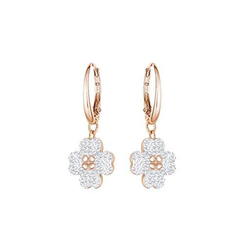 (Swarovski Latisha Pierced Earrings - White - Rose gold Plating - 5420249)