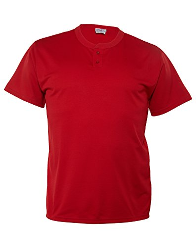 Teamwork Adult Shut Out Stadium Core Mesh 2-Button Jersey Mens Style: 1758P-SCARET/RED Size: XL