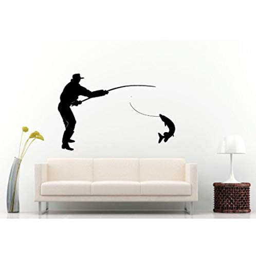 Fisherman Catching A Huge Fish Silhouette Vinyl Wall Decals Home Special Decor Wall Murals Fishing Art Removable Wallpaper 57X85Cm