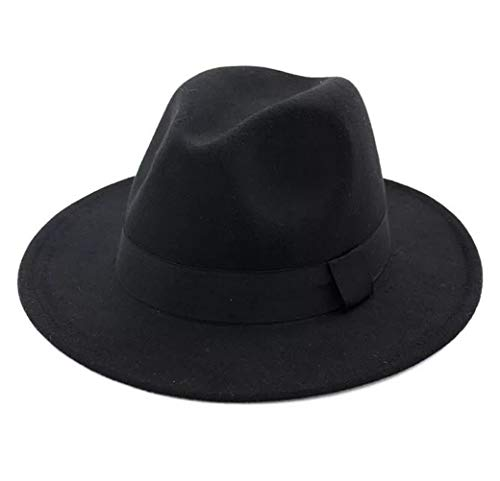 Navy Blue Felt Hat - Lanzom Women Wide Brim Warm Wool Fedora Hat Retro Style Belt Panama Hat (Black, One Size)
