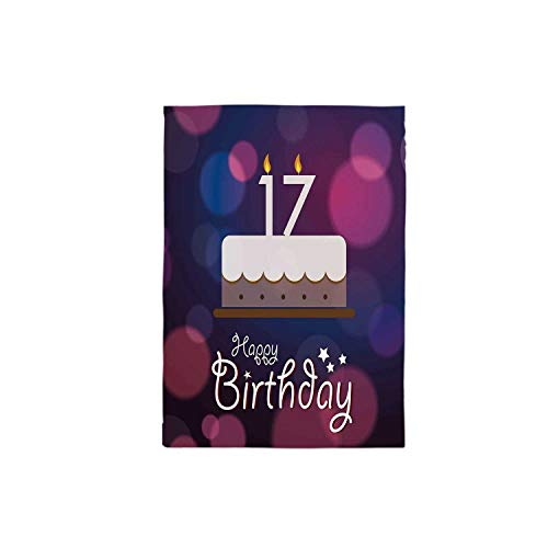 (C COABALLA 17th Birthday Decorations Durable Tablecloth,Seventeen Party Cake with Abstract Circles Art Print for Office Home,55.1