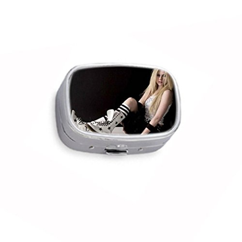 ril Lavigne Custom Image Silver Stainless Steel Pill Box,Durable pill case box or wallet gift box ()