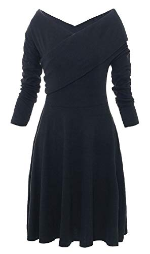 Elegant Long A Sleeve Swing Women Neck V Jaycargogo Dress s Length Line Black Knee UxTEw0wqH