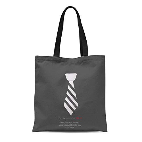 Semtomn Canvas Tote Bag Shoulder Bags Code Black Suit Hipster Tie White Neck Dress Necktie Women's Handle Shoulder Tote Shopper Handbag