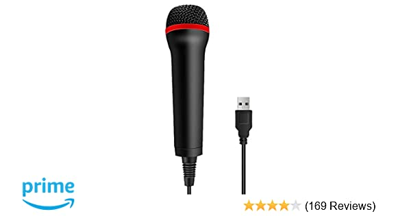 TPFOON 4M 13FT Wired USB Microphone for Rock Band, Guitar Hero, Let's Sing  - Compatible with Sony PS2, PS3, PS4, Nintendo Switch, Wii, Wii U,