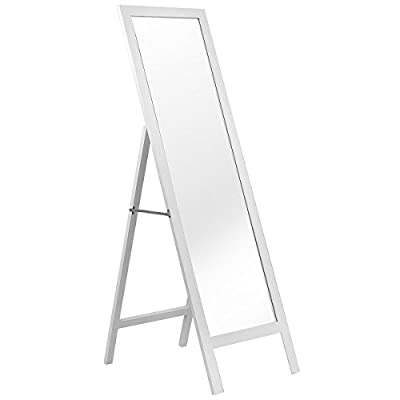 "FDInspiration 55.5"" White Floor Full Length Dressing Mirror MDF Wooden Frame Standing - Freestanding design and full length allow you to view your entire outfit in a single glance. Clean and sleek surface, perfect for both vintage and modern style environments, Stand on the floor stably. Apply to your living room, bedroom, hallway, entryway or bathroom, etc. - mirrors-bedroom-decor, bedroom-decor, bedroom - 31v5HHmyqLL. SS400  -"