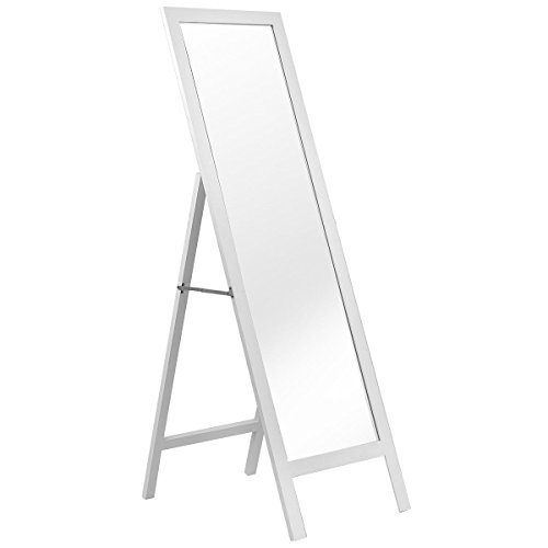 Giantex Floor Standing Mirror Full Length Bedroom Dressing Mirror Wooden Frame White Finish Home Accent Furniture Large Leaner Cheval Mirrors Stand