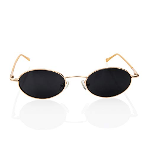 Vintage Oval Sunglasses Small Stainless Steel Frames Celebrity Gothic Glasses (Gold Frame/Dark Black Lens) ()