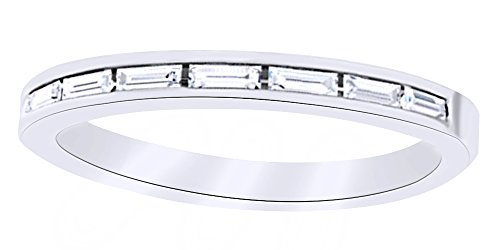 Baguette Cut White Natural Diamond Band Ring In 14K Solid White Gold (0.2 Ct),Ring (0.2 Ct Baguette)