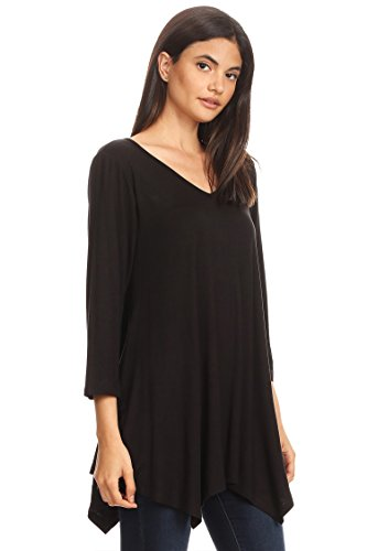 Black Fit USA Loose Top Made Tunic Long Hte00010 Women's Neck in Round Sleeves 76WFxaB1