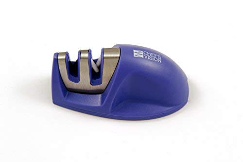 Smarter Edge Kitchen Knife Sharpener by Chefs Vision - Purple V-Shape 2 Stage Sharpener - Blade Sharpeners Tool - Colored Compact Knives Sharpener - Chef Knife Sharpening - Afilador de Cuchillos