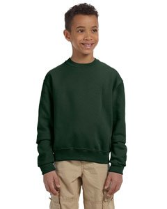 Jerzees Child's Youth NuBlend Crewneck Sweatshirt, S, Forest Green