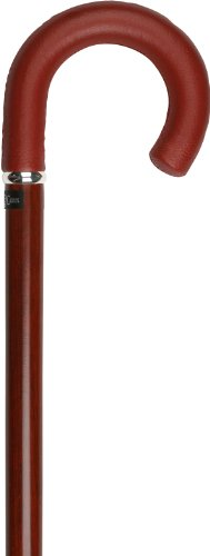 Burgundy Leather Tourist Walking Cane With Padauk Wood Shaft and Silver Collar