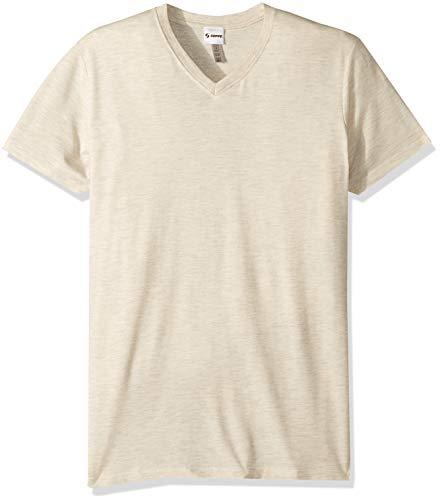 (Soffe MJ Men's Tri-Blend Short Sleeve V-Neck Tee, Oatmeal Heather, Medium)