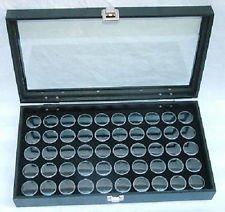 50 Black Gem Jars in Glass Top Display Case