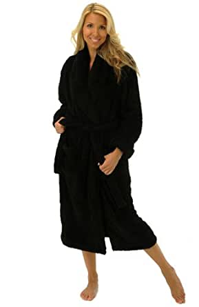 Alexander Del Rossa Womens Fleece Robe, Plush Microfiber Bathrobe, Small Medium Black (A0302BLKMD)