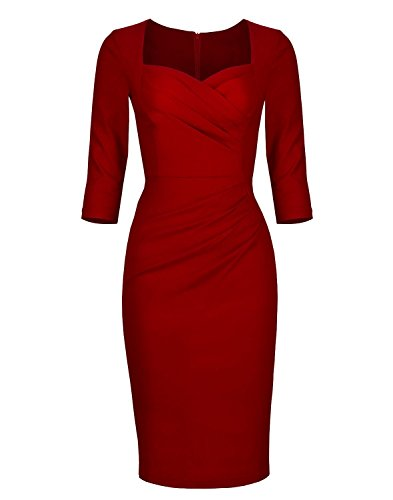 Newdow Lady Celebrity Classic Pleated Inspired Pencil Dress (2XL, Red) (Celebrity Red Dress)