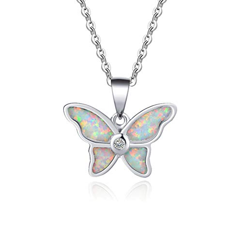 Fancime 925 Sterling Silver White Created Opal Butterfly Pendant Necklace With Round Cubic Zirconia CZ Charm Delicate Jewelry For Women Girls 16+2