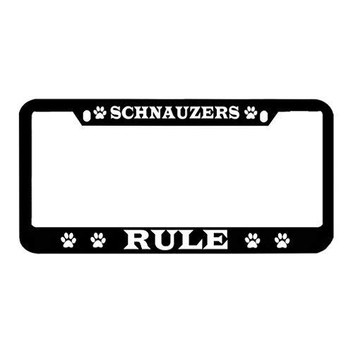 Speedy Pros Schnauzers Rule Zinc Metal License Plate Frame Car Auto Tag Holder - Black 2 - Plates License Rule