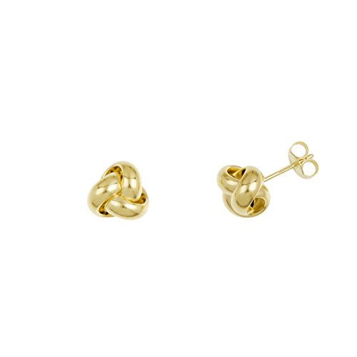 14k Yellow Gold Italian Oversize High Polished Love Knot Stud Earrings