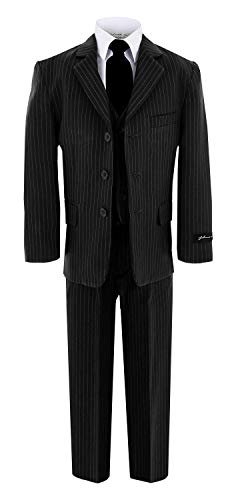Johnnie Lene JL5014 Pinstripe Black Suit W/Black Tie for Boys from Baby to Teen (12 Months)