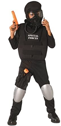 childrens costume boys black jumpsuit police military swat special forces - Kids Halloween Costumes Amazon