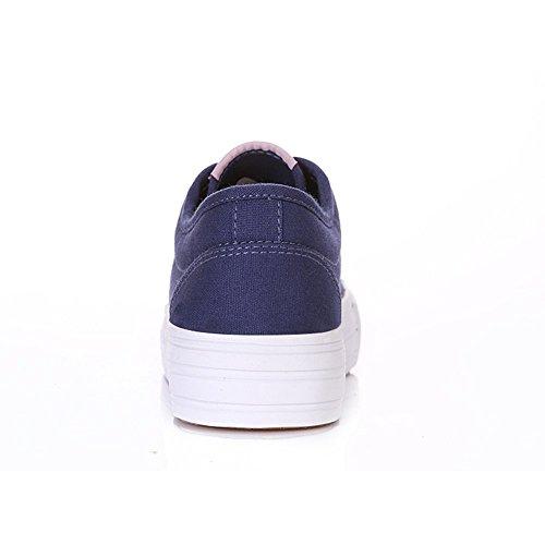 Shenn Mujer Plataforma con cordones Lona Alpargatas Entrenadores Zapatos 23309 Azul