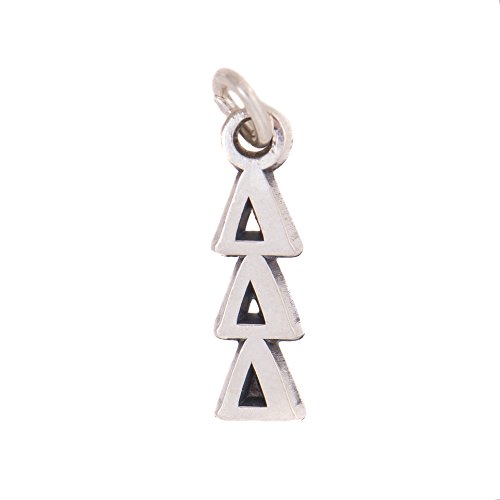 Delta Delta Delta Sorority Letter Sterling Silver or 14k Gold Lavalier Necklace with Chain (Silver)