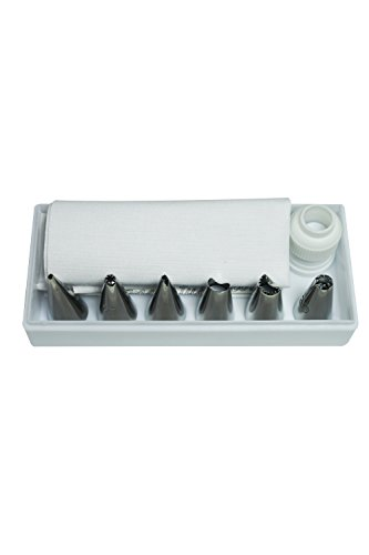 R&M International 2762 Icing and Cake Decorating 8-Piece Set, Includes 6 Tips, Icing Bag, and Coupler