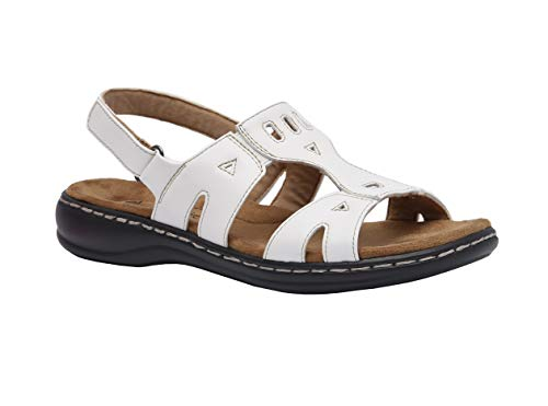 Cushionaire Women's Bowie Comfort Footbed Sandal with +Comfort, White,7.5 ()