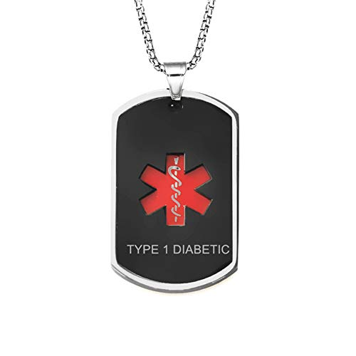 LiFashion LF Mens Stainless Steel Type 1 Diabetic Medical Alert Necklaces Black Medical Emergency Dog Tag Pendant Heart Alert Jewelry Monitoring Systems