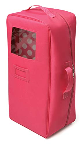 Badger Basket Doll Travel Case with Bed and Bedding - Dark Pink (fits 18