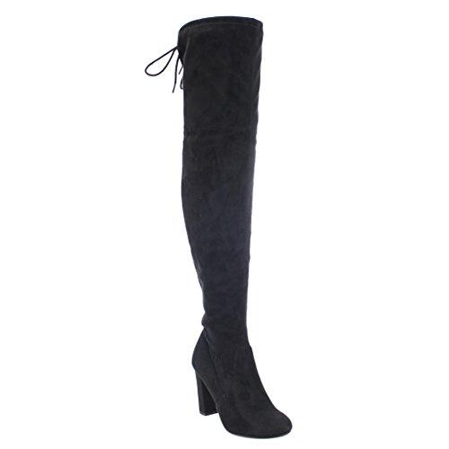 Köstliche Frauen Faux Suede zurück Tie Overknee Chunky High Heel Dress Boot Schwarzer Faux Wildleder