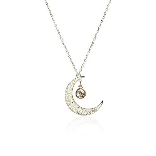 Silver-plated hollow Crescent Moon with Diamond pendant Necklace Diamond Moon Necklace