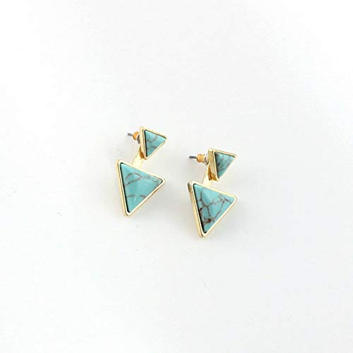 DHmart Fashion Delicate Stone Triangle Button Stud Earrings Ear Jacket Earrings Nature Stone Studs
