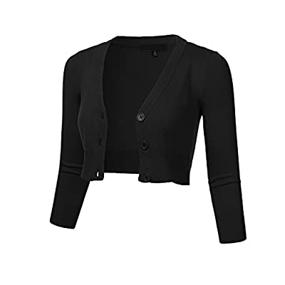 FLORIA Women's Solid Button Down 3/4 Sleeve Cropped Bolero Cardigan Sweater (S-4X) at Women's Clothing store
