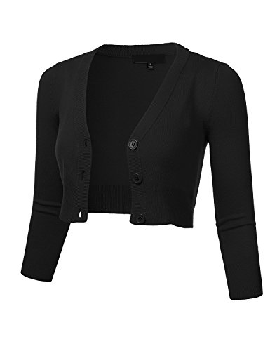 FLORIA Women's Solid Button Down 3/4 Sleeve Cropped Bolero Cardigan Sweater Black L