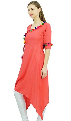 Phagun Angrakha Estilo Rayón para mujer de la túnica kurta Pompón Diseñador Kurti sobre el tema de la India Melocotón oscuro