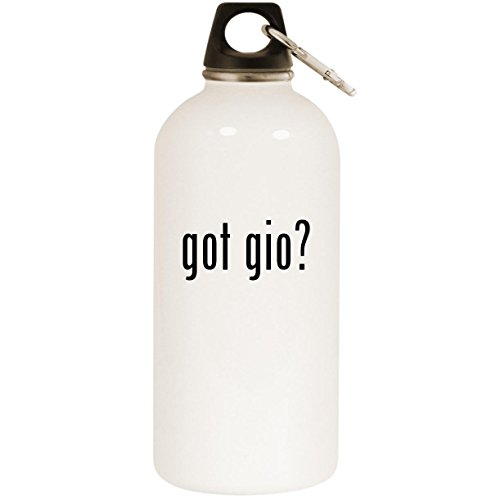 (Molandra Products got gio? - White 20oz Stainless Steel Water Bottle with Carabiner)