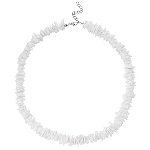 (TOMLEE White Conch Clam Chips Puka Shell Necklace Choker for Women with 2